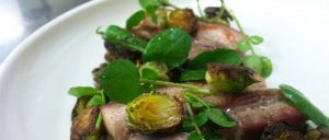 Pork belly, lentils, sprouts, apple cider and watercress at Mezze Bistro + Bar   Photo by Nicholas Moulton