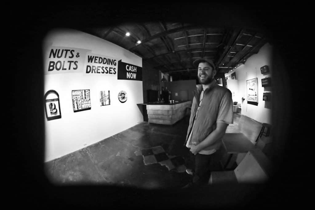 Will Sears Signs Portland's Space Gallery. Photo by Bret Labelle Photography