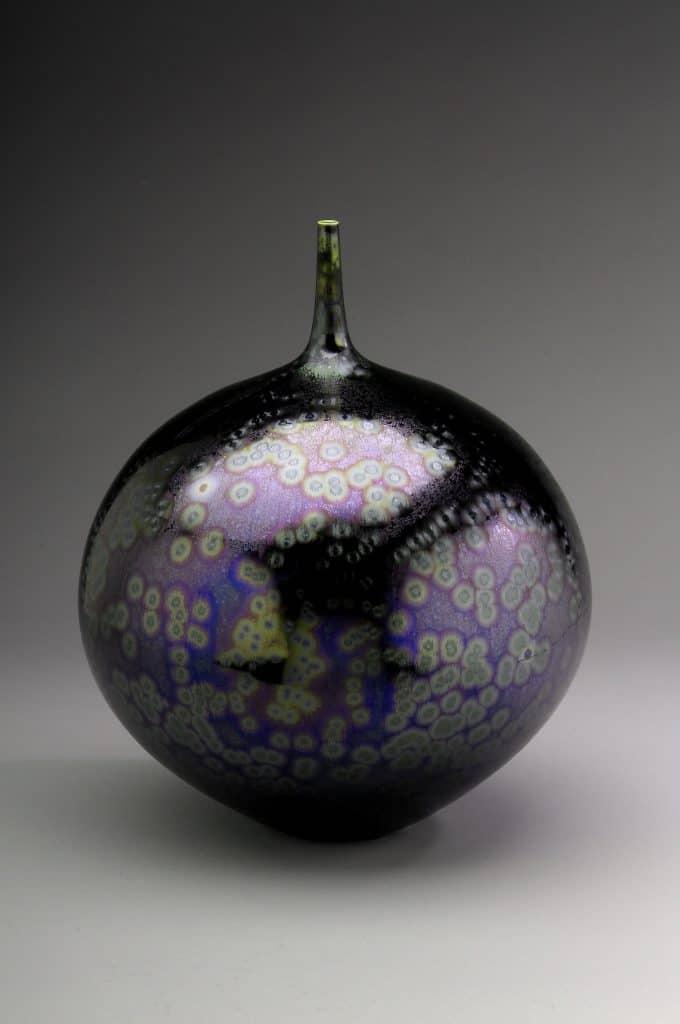 "Vase, sea foam purple glaze, Porcelain, 12.75 x 9.5 x 9.5""   Photo courtesy Pucker Gallery"