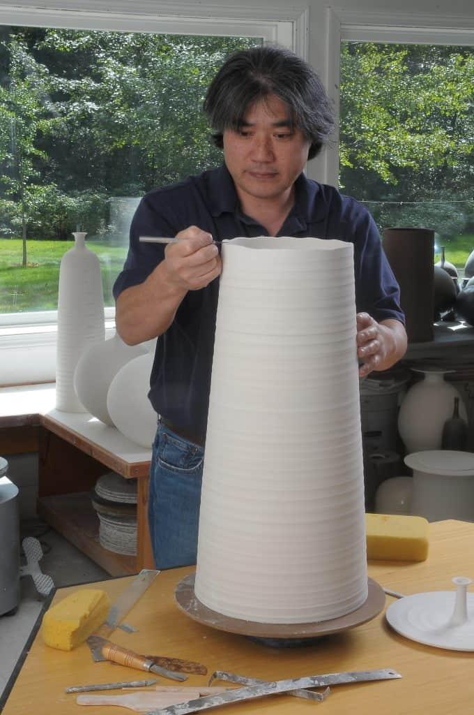 Hideaki Miyamura in the studio   Photo courtesy of Pucker Gallery