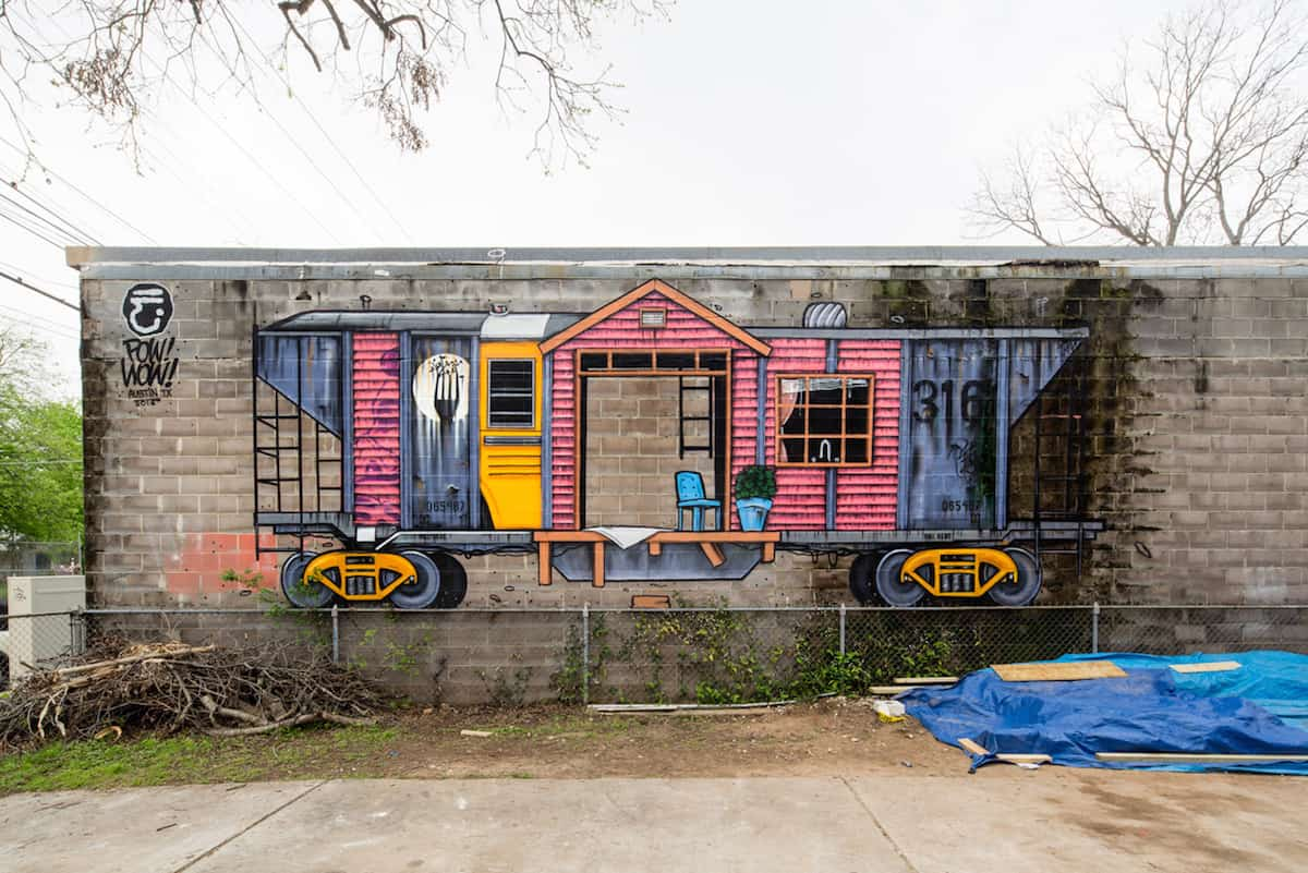Mural by Jason Eatherly in Austin, Texas for POW! WOW! SXSW 2016 and the Impossible Walls Project. A partnership with SpraTX and SXSW