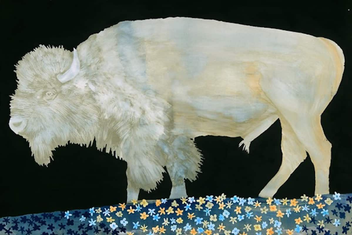 ​Bathed in Comet Light  | Cyanotype with collage, watercolor, and enamel on paper | 42 x 52 inches​