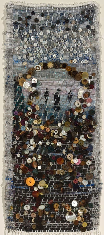 Aperture, 2014, woven mixed media, 30 x 12 inches