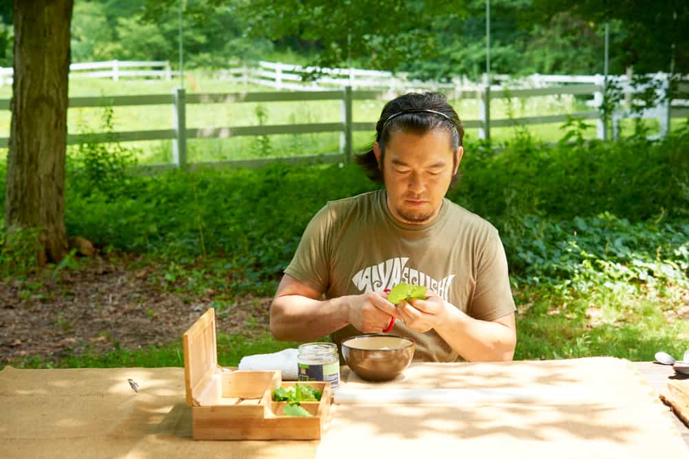 Chef Bun Lai of Miya's Sushi grows food, but mostly forages for it, at his farm outside New Haven, Connecticut | Photo by Dominic Perri