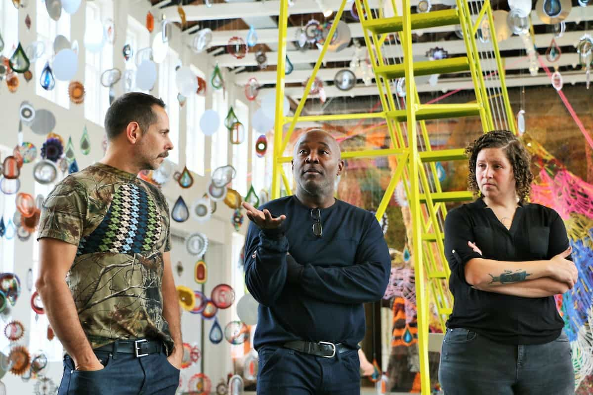 Bob Faust, Special Projects Director for Nick Cave, Nick Cave and MASSMoCA Curator Denise Markonish, Photo by Austin Harney