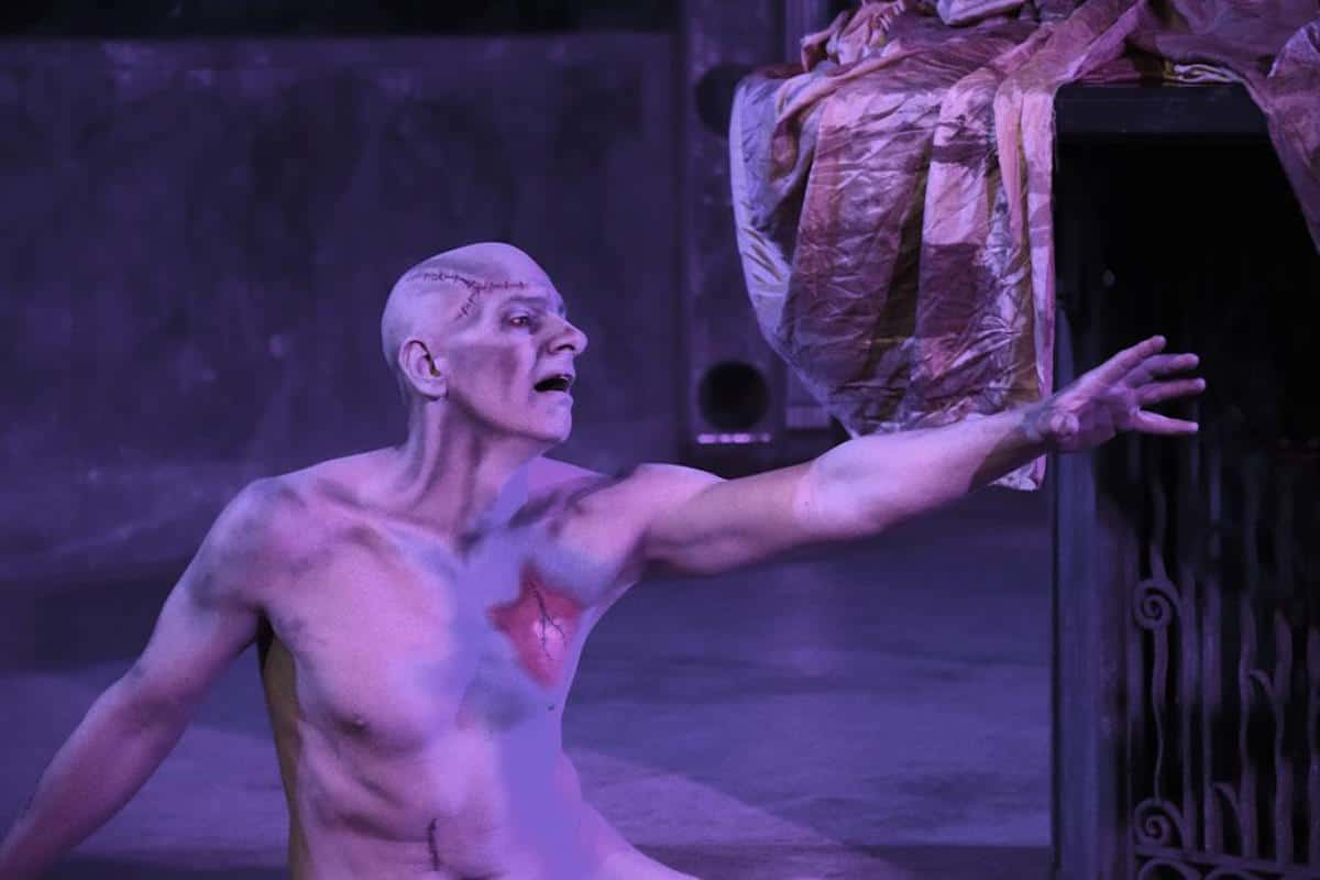 Lindel Hart performing in his adaptation of Mary Shelley's Frankenstein | Make-up by Joe Dulude II