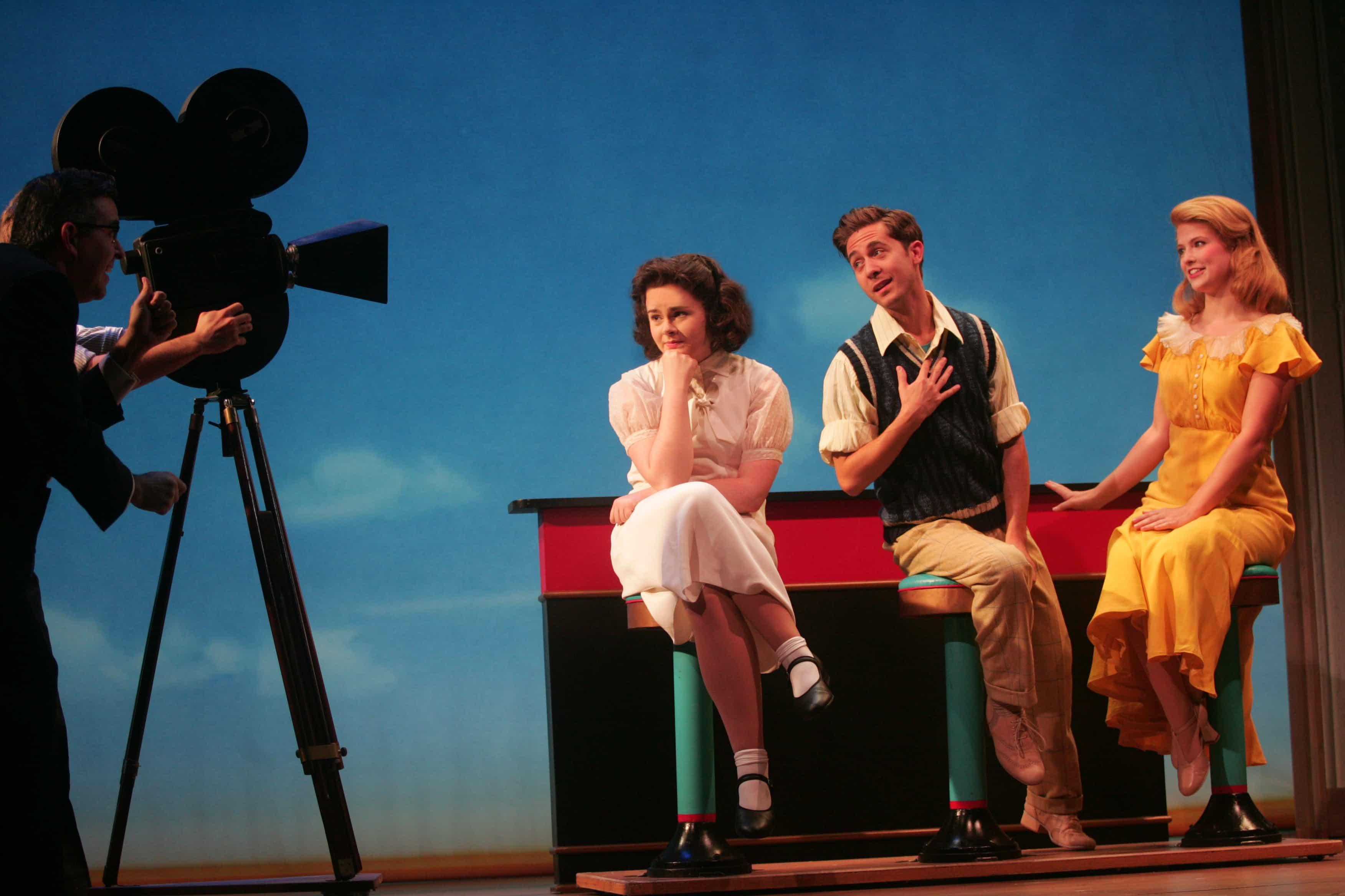 Ruby Rakos as Judy Garland, Michael Wartella as Mickey Rooney, and Berklea Going as Lana Turner in Chasing Rainbows: The Road to Oz.   Photo by Diane Sobolewski