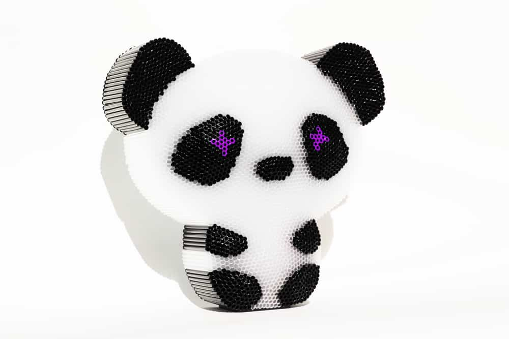 Mini Panda Yeux Violets, 2015 10.2 x 10.6 x 3.1 in., 3,600 straws