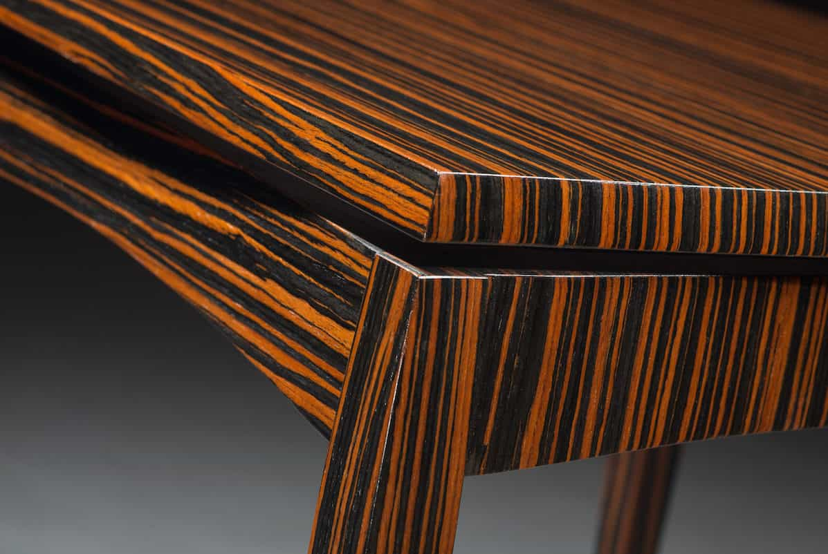 Table by Richard Oedel | Macassar ebony, corner detail | Image courtesy of Richard Oedel