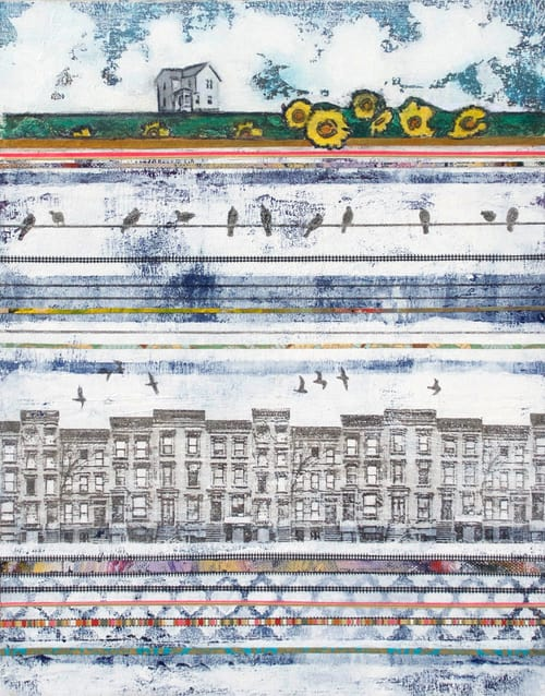Town + Country, 2015 by Holly Harrison | 14 x 11 in., Mixed Media on Wood Panel