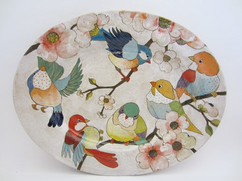 Ceramic plate from the Flower, Birds and Berries series by Dwo Wen Chen | Photo courtesy Three Wheel Studio website