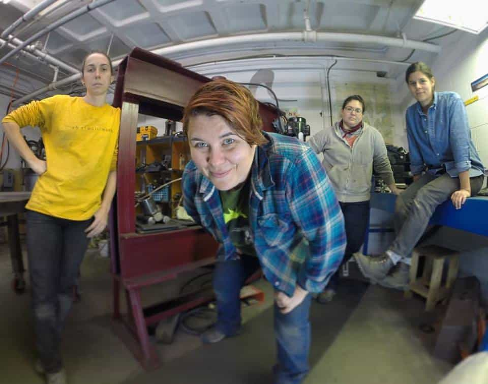 Vivian Beer in her studio with her team