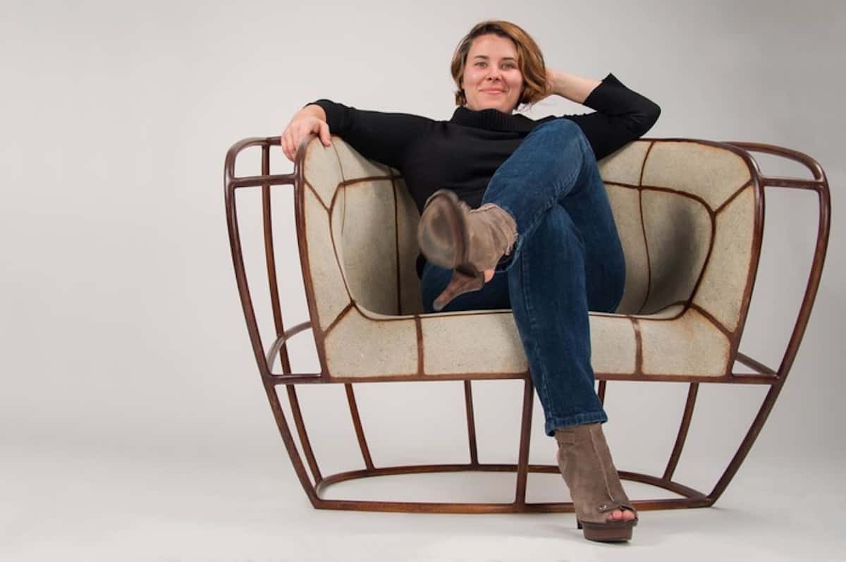 Vivian Beer in her cement Low Rider chair
