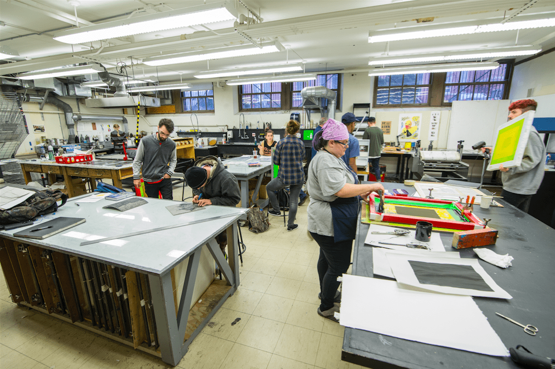 NHIA students working in screen printing studio | Photo courtesy of NHIA