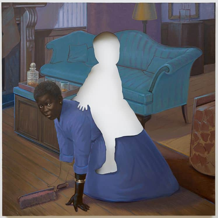 Titus Kaphar, Space to Forget, 2014, oil on canvas, 64 x 64 x 2 3/4 inches | Photo courtesy Jack Shainman Gallery