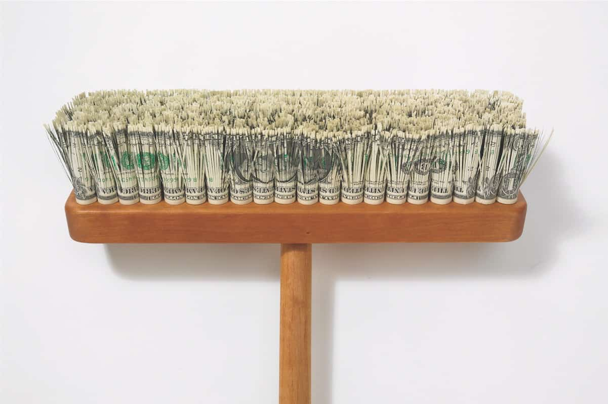 image credit for this is: Mark Wagner, Very Expensive Push Broom (detail), 2008, Edition of 9, Cut currency and cherry wood, 61 x 16 x 6 in., Private Collection, New York, Image courtesy the artist, © Mark Wagner.
