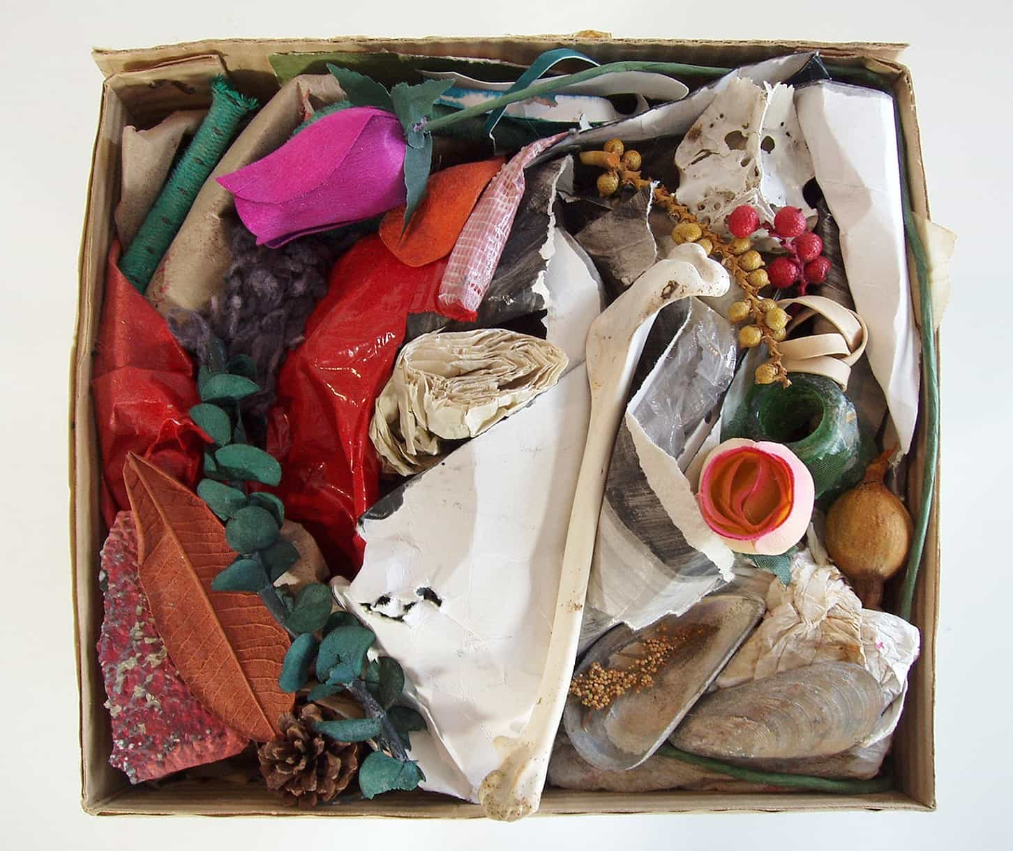 "Prelude, Poem of Vitamins, 2015, ceramic, cardboard, paper, bone, wood, shell, potpourri, tape, charcoal, cotton, rope, rubber, glass, cloth, stone, 11 ½"""" x 9"" x 8 