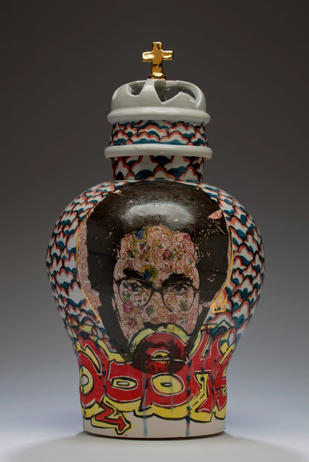 Roberto Lugo, Ol' Dirty Bastard (ODB), 2015, porcelian, glaze, china paint, 11.5 x 11.5 x 21.5 in | Photo by Kenek Photography, courtesy of Wexler Gallery