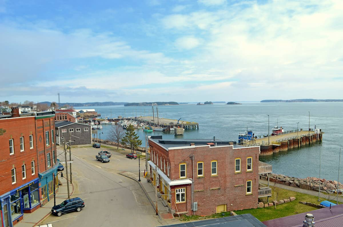 View from the top of TIMA's main building with a view of Eastport's downtown and waterfront - all of the islands in the distance are in Canada. | Image courtesy TIMA