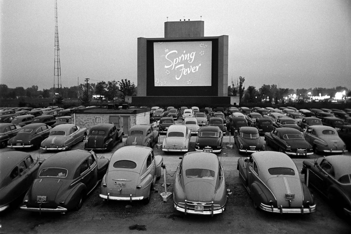 New England drive-in movie theaters, vintage image