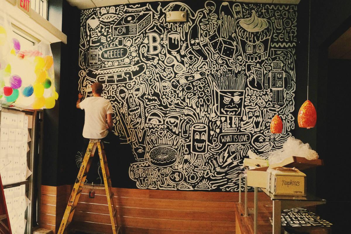 Samuel Kontny, chalkboard art, Boston Massachusetts