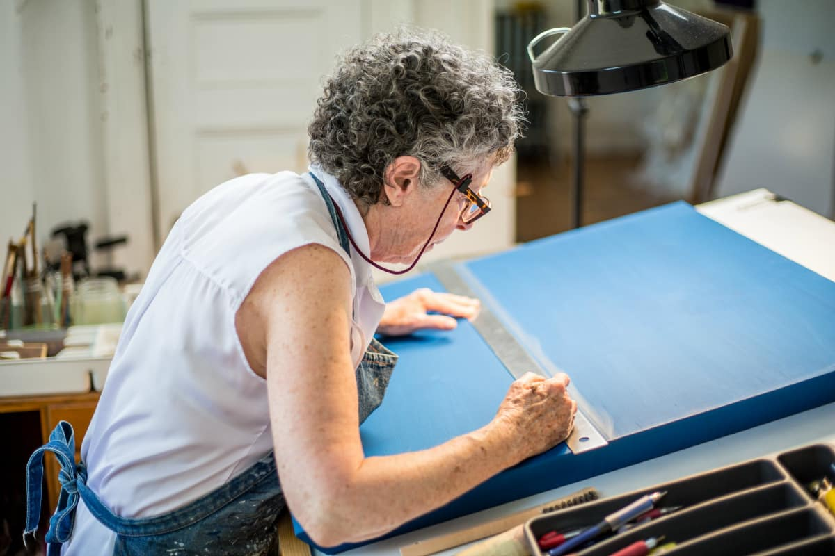 Susan Schwalb lines up at her Watertown studio. Photo by Izzy Berdan
