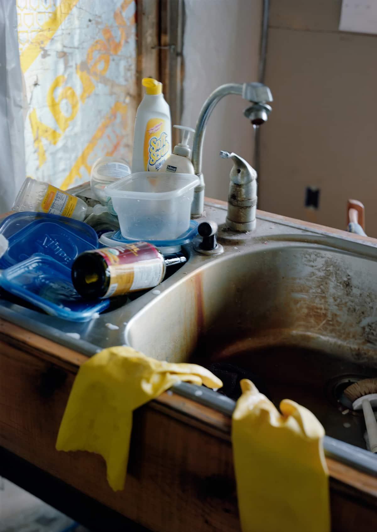 Sarah C. Butler, Frozen in Time, Yellow Gloves at Kitchen Sink, April 8 2011
