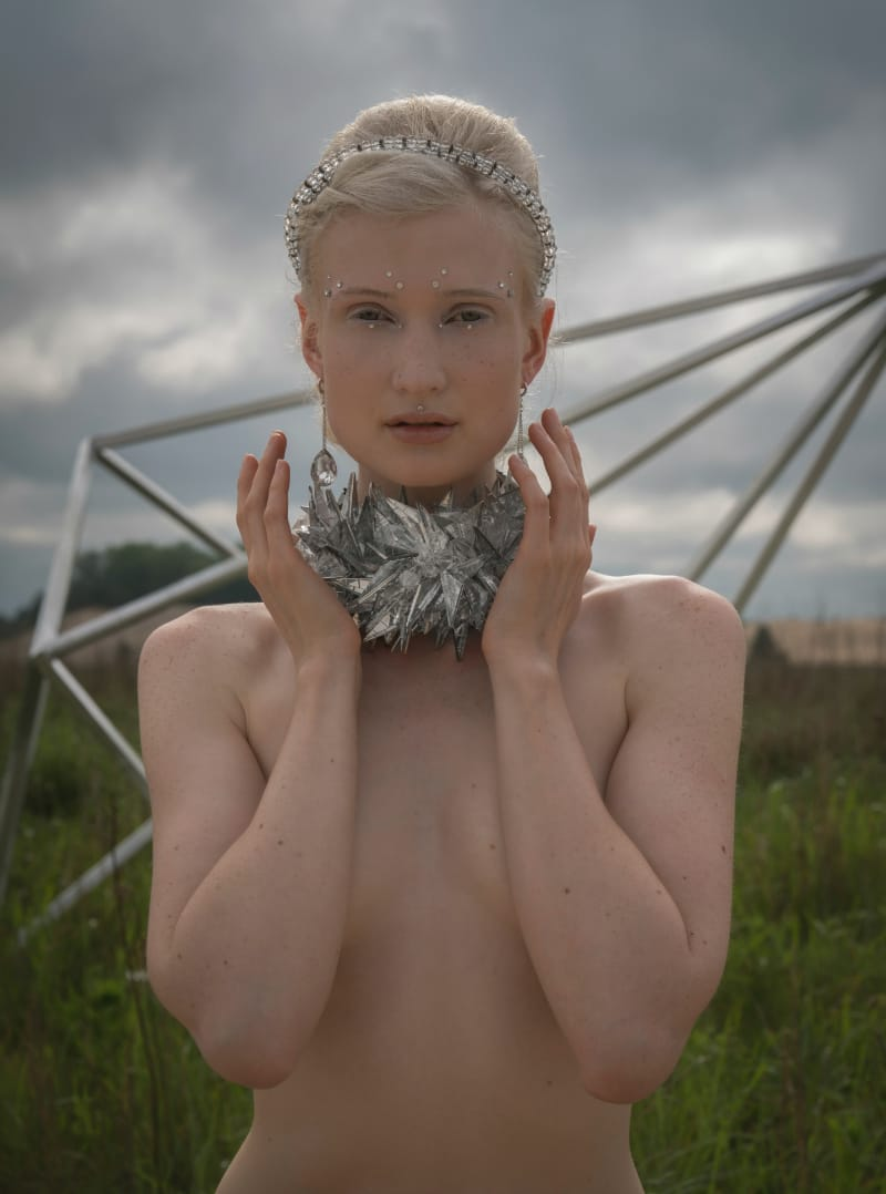 Rondelle hair band, $79; crystal drop earrings, $110; crystal shard neckpiece, $275. Photo by Ian Barnard