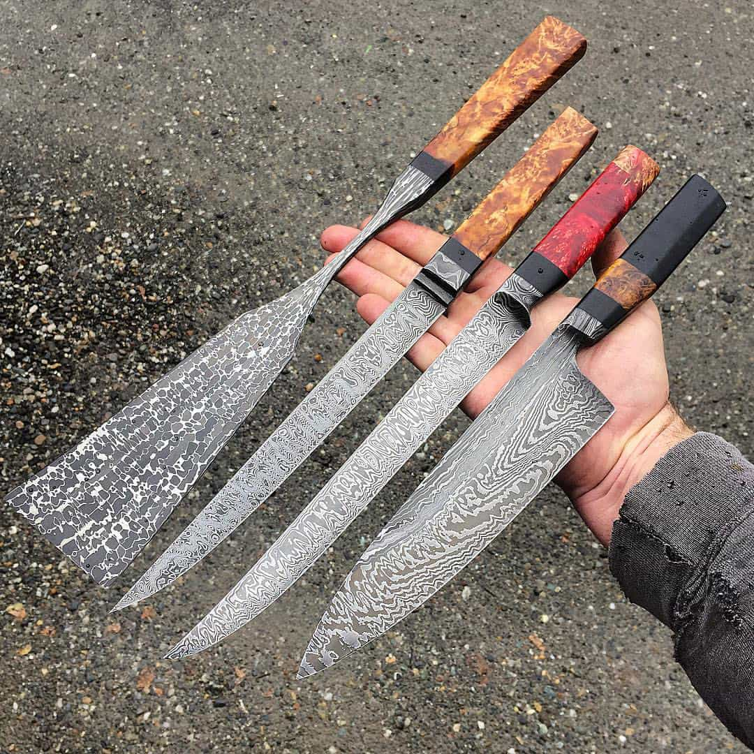 A spatula and knives made with steel ball bearings and high-nickel powder. Photo by Nick Anger
