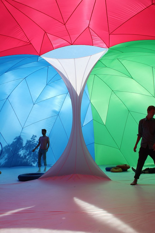 Visitors inside the RGBubble experience color in a whole new light. | Photo courtesy of Pneuhaus