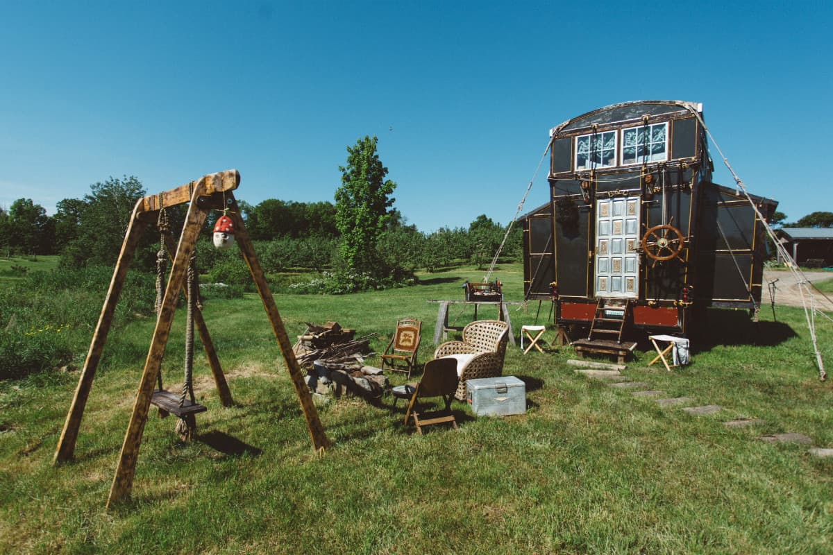 Brendan Batchelder and Chloe Barcelou's tiny house. Photo by Chris Saunders. new hampshire tiny house