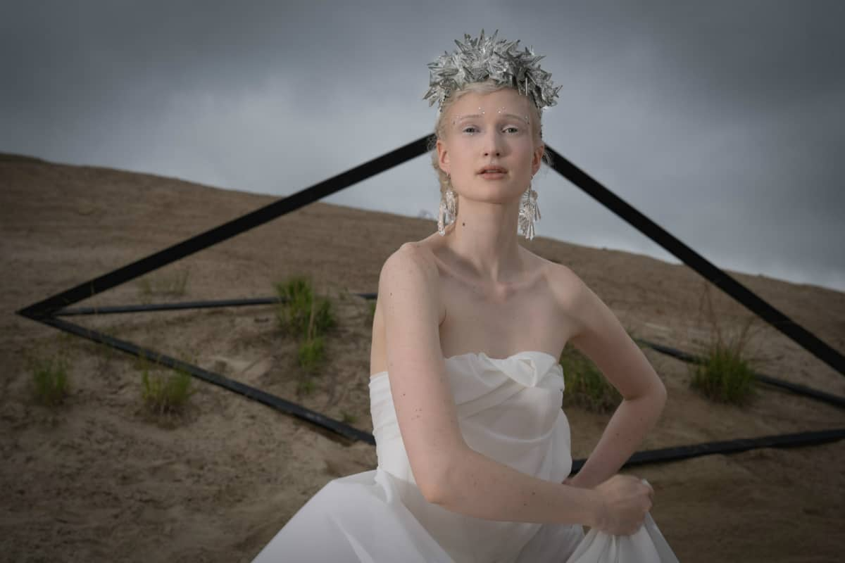 Crystal shard neckpiece and lucite earrings from jewelry design companyHouse of Cach. Photo by Ian Travis Barnard
