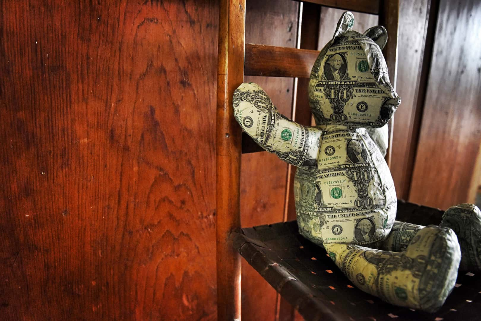 Johnny Swing's Dollar Bear, made of sewn dollar bills. Photo by Paul Specht