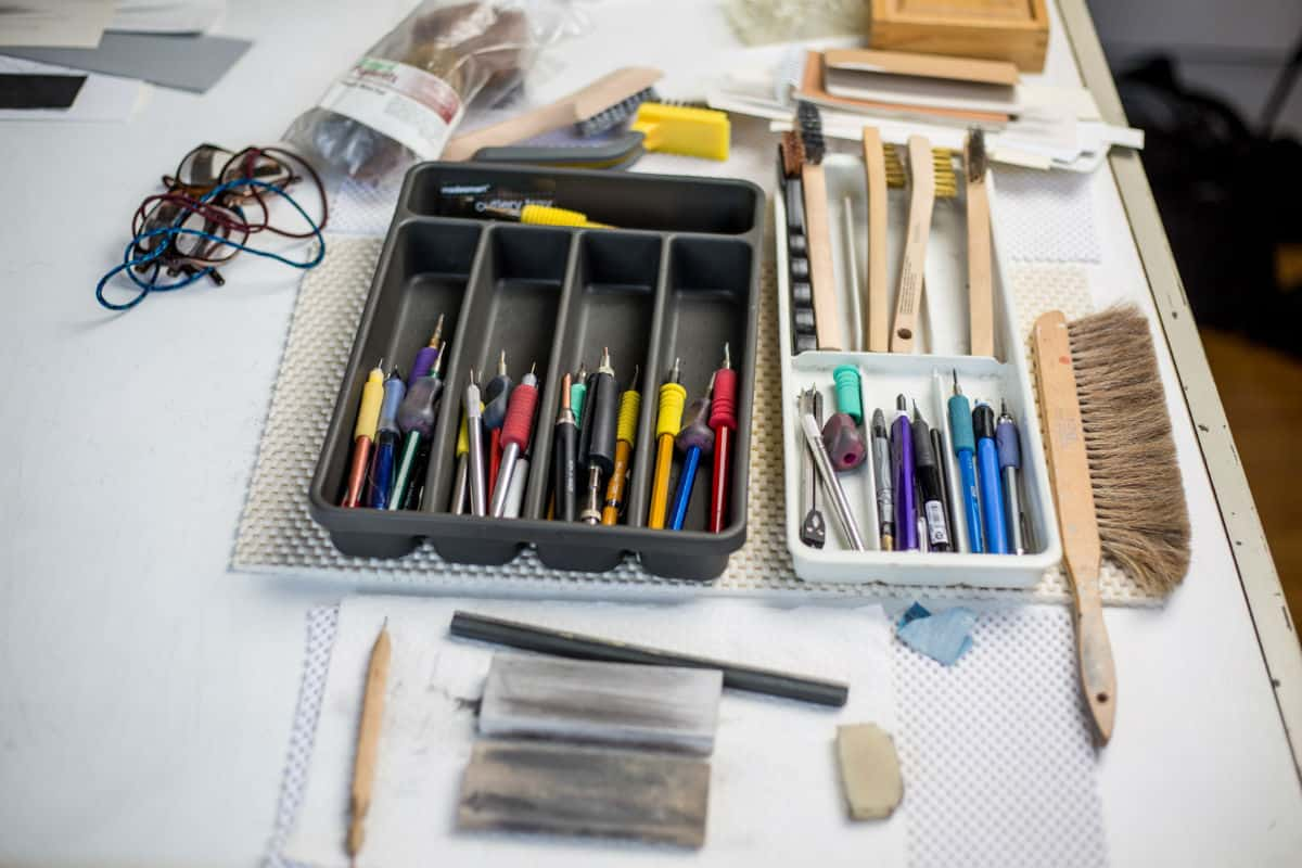 Metalpoint styluses in Susan Schwalb's studio. Photo by Izzy Berdan