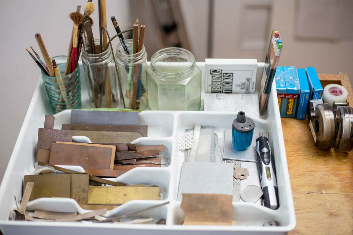 Metalpoint implements in Susan Schwalb's studio. Photo by Izzy Berdan