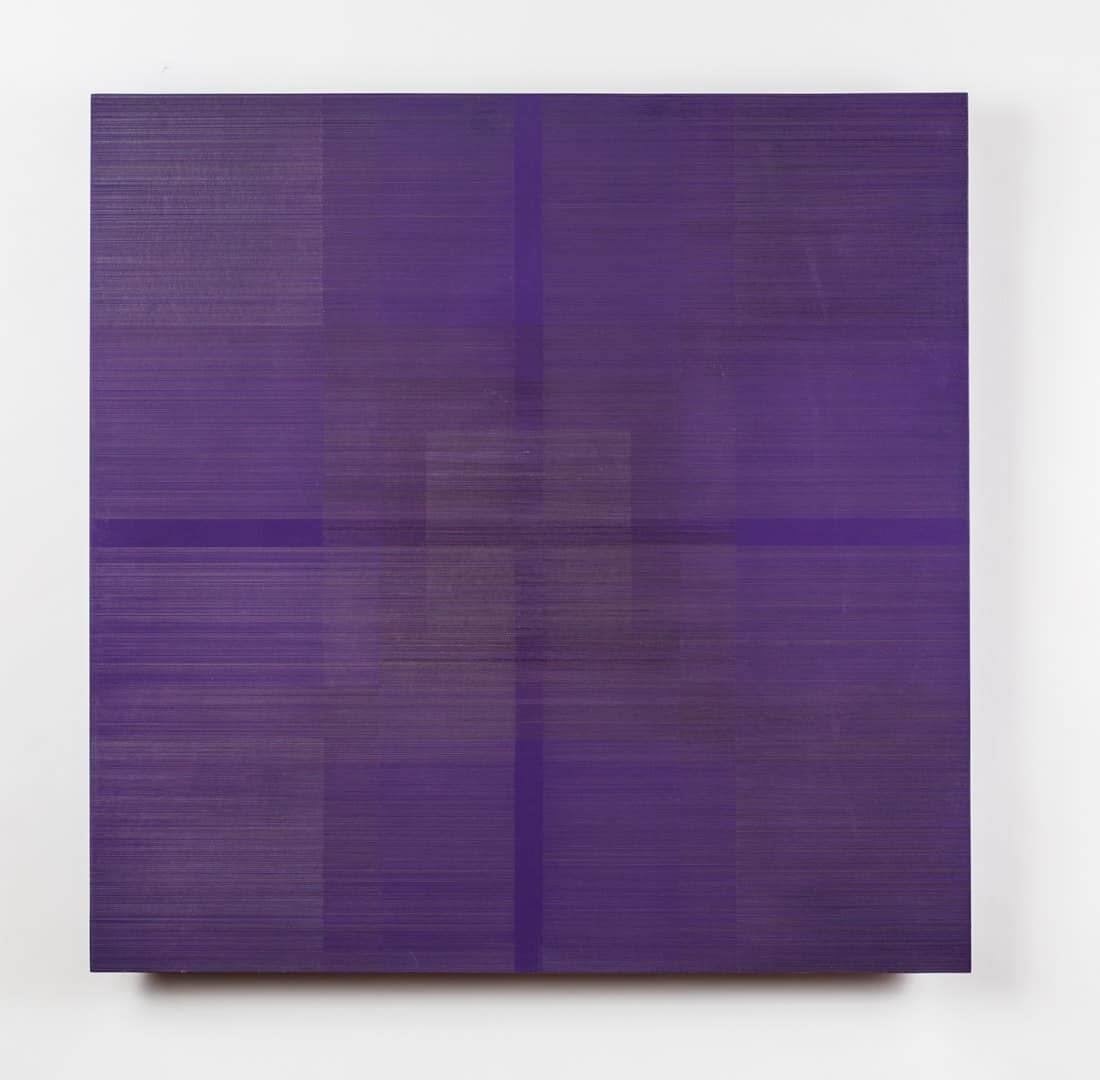 Polyphony XV, 2016, silver/gold/copper/aluminumpoint, purple gesso on museum mount board on wood, 24 x 24 x 2 in. Photo by Izzy Berdan