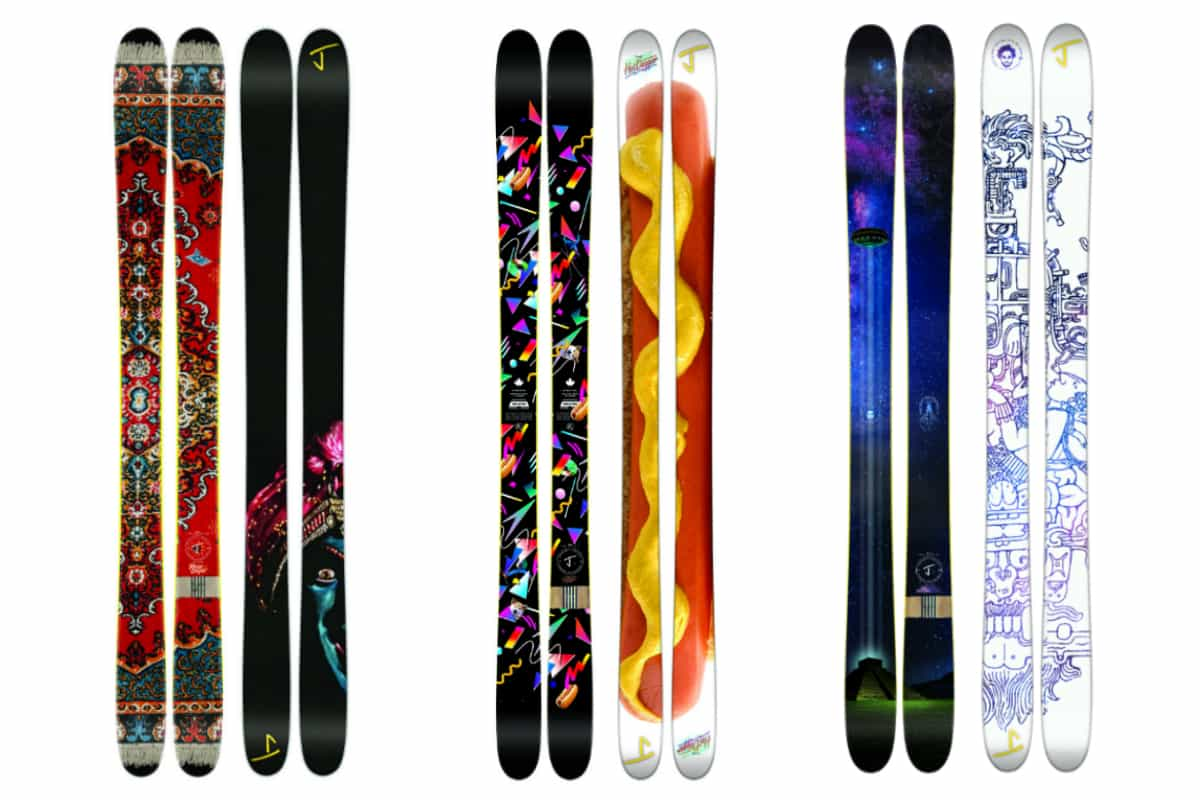 Jason Levinthal: The Vacation skis with Magic Carpet graphic; The Whipit skis with Hot Dogger graphic; The Allplay skis with Ancient Astronauts graphic. Photos courtesy of jskis.com