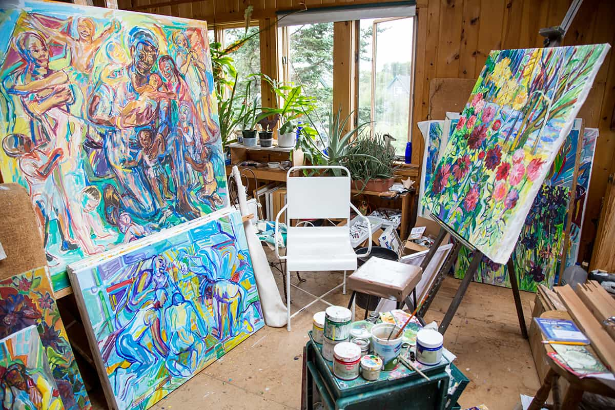 The upstairs painting studio in Ashley Bryan's house. Photo by Izzy Berdan