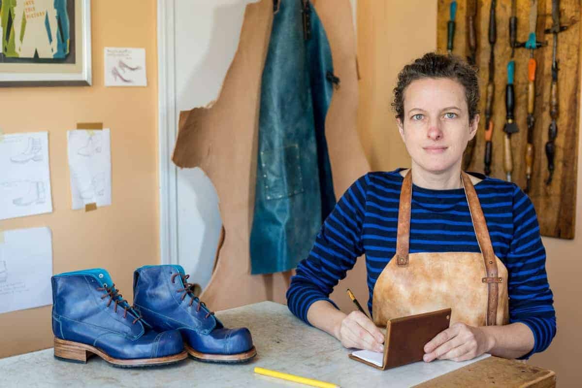 Work by Daphne Board (shoes), American Bench Craft (journal cover), and Linny Kenney (aprons). Photo by Izzy Berdan